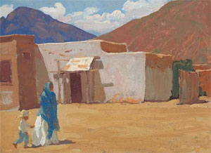 "Maynard Dixon (1875-1946) In Old Tucson, 1907, oil on canvas board, 9"" x 12"" Collection of Drs. Mark and Kathleen Sublette"