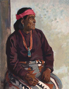 "Maynard Dixon (1875-1946) Mah-to-Kah, Hopi Man, 1923, Oil on Canvas, 16"" x 20"" Private Collection"