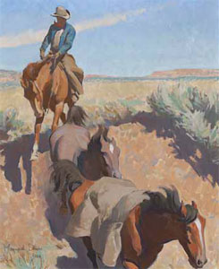"Maynard Dixon (1875-1946) Cut Bank, Tucson, 1942, Oil on Board, 20"" x 16"" Collection of Ray and Kay Harvey"
