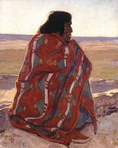 "Maynard Dixon (1875-1946) Hopi Man, 1923, Oil on Canvas, 20-13/16"" x 16"" Courtesy of Brigham Young University  Museum of Art, purchased with funds provided by Clark Memorial"