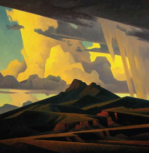 "Ed Mell, High Desert Peaks, oil on linen, 30"" x 30"", 2011"