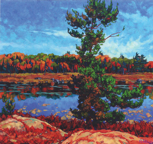 "Dominik Modlinski - Sunny Portage, oil on canvas, 40"" x 40"""