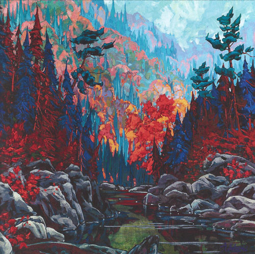 "Dominik Modlinski - Valley of White Pines, oil on canvas 48"" x 48"""