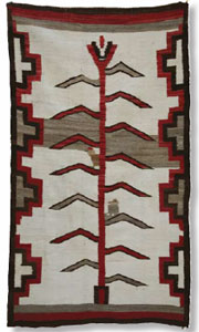 "Navajo Corn / Tree of Life Pictorial Rug, c. 1915-20, 73"" x 42"""
