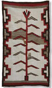 "Navajo Corn / Tree of Life Pictorial Rug, c. 1915-20, 73"" x 42"""
