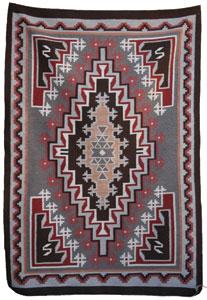 "Navajo Burntwater textile, c. 1980, 56"" x 39"""