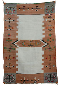 "Navajo Double Saddle Blanket, c. 1900, 54"" x 37"""