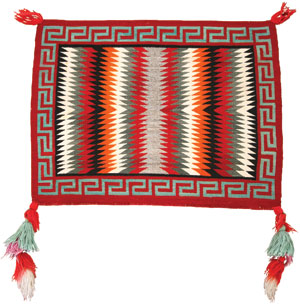"""Navajo Single Saddle Blanket (Fancy), c. 1930, 27"""" x 33"""""""