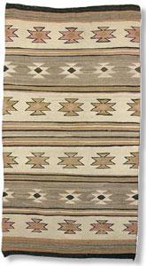 "Navajo Wide Ruins textile, c. 1920, 64"" x 35"""