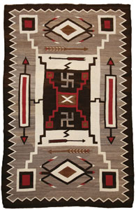 "Navajo Crystal Storm Pattern with Whirling Logs, Waterbug, and Arrow motifs, c. 1920, 86"" x 56"""