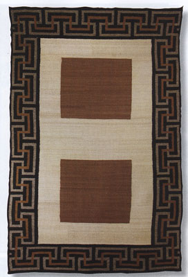 "Navajo Double Saddle Blanket, .c 1920, 53"" x 34.5"""