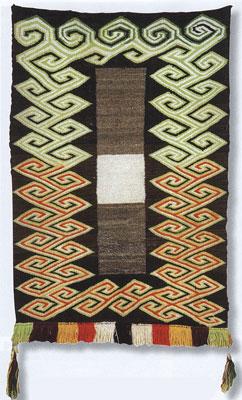 "Navajo Double Saddle Blanket, c. 1920, 49"" x 32"""