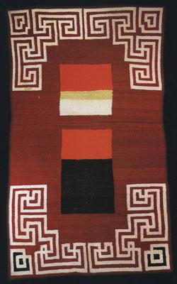 "Navajo Double Saddle Blanket, c. 1920, 58"" x 33"""