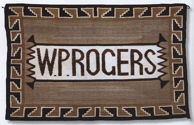 "Navajo ""WP Rogers"" Pictorial Double Saddle Blanket, c. 1925, 31"" x 45"""