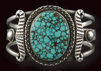 Navajo Bracelet and Ring Set with Number 8 Turquoise, c. 1930