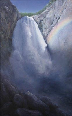 "P. A. Nisbet, Lower Falls of the Yellowstone, Oil on Canvas, 48"" x 30"""