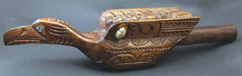 "Northwest Coast wooden rattle with shell and Mother of Pearl, c. 1950, 17"" x 3.75"" x 3.5"""