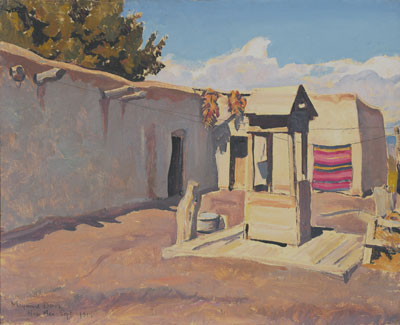 Maynard Dixon, Old Patio, New Mexico, (September 1931), oil on canvas board, 16 x 20""