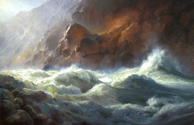 "P. A. Nisbet, Lava Falls, Oil on Canvas, 24"" x 36"""