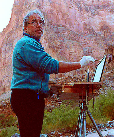 P. A. Nisbet painting in the Grand Canyon