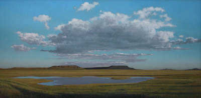 "Jeff Aeling, Pond and Clouds Near Raton, NM, Oil on Panel, 36"" x 72"""