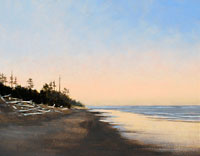 "Jeff Aeling, Sunset, Washington Coast, Oil on Panel, 8 "" x 10 """