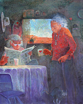 "Shonto Begay, Grandmother's Love Cup, Acrylic on Canvas, 42"" x 52"""
