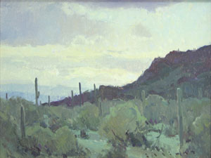"Josh Elliott, Picacho Sunrise, Oil on panel, 9"" x 12"""