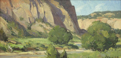 "Josh Elliott, Barracks Canyon, Oil on panel, 10"" x 20"""