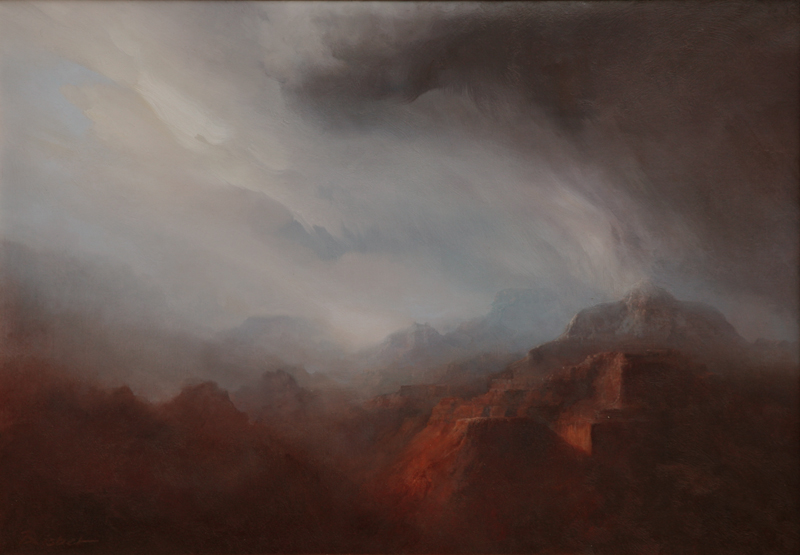 "P.A. Nisbet, Snow Squall at Vishnu Temple, oil on canvas, 18"" x 26"""