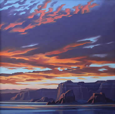 "Ed Mell, Powell's Sunset, oil on canvas, 48"" x 48"""