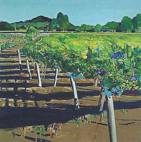 "Gregory Kondos, Rutherford Vineyard, 1989, oil on canvas, 88""x88"""