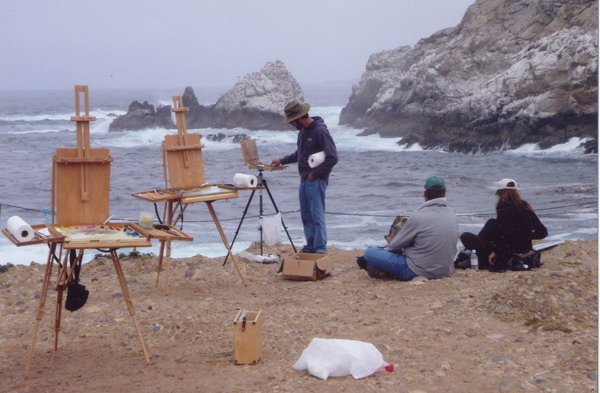 Glen painting en Plein Air with artists Sarah Weber and John Moyers, Carmel 2005