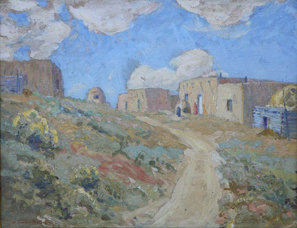 "Sheldon Parsons (1866-1943), A Bit of Santa Fe, ca. 1920, oil on board, 14"" x 18"""