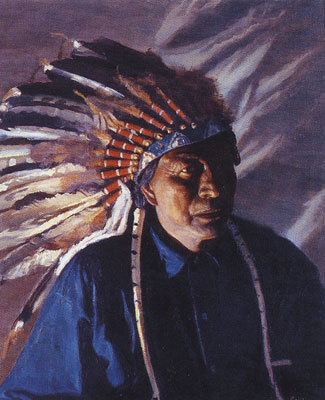 "Bert Phillips (1868-1956) Warbonnet Shadows, oil on canvas, 22"" x 18""  Courtesy the Toas Art Museum and Fechin House, Taos, NM"