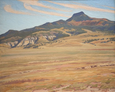 Maynard Dixon, Picacho Solito, Rio Arriba, New Mexico, (October 1931), oil on canvas board, 16 x 20""
