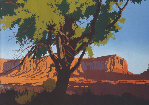 "Billy Schenck, Land of the Searchers, oil, 22""x40"""