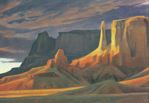 "Ed Mell, Yellow Mesa, oil, 10""x20"""