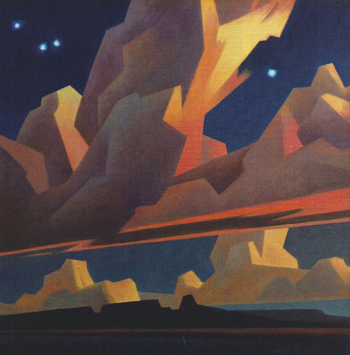 "Ed Mell, Evening Edges, oil on iinen, 22""x22"""