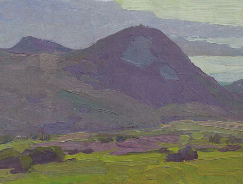 "Glenn Dean, Hills Near the Bay, 2010, oil, 6""x8"""