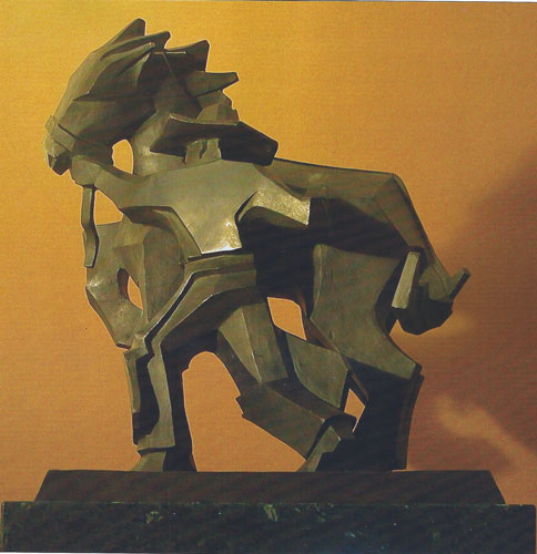"Ed Mell, Sidestepper, bronze, 24"" high"
