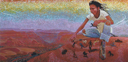 "Shonto Begay, Composing My World, acrylic on canvas, 24""x48"""
