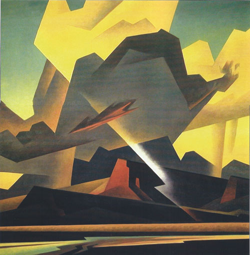 "Ed Mell, Cross Cut Storm, oil, 36""x36"""