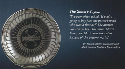 "Maria Martinez (1887-1980) and Popovi Da (1921-1971), San Ildefonso Gunmetal Feather Plate, October 1969, 2""x10-3/4"", signed: ""Maria-Popovi 1969"""