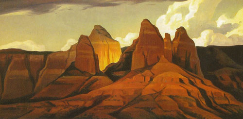 "Ed Mell, Sedona Shadows, 2004, oil on linen, 15""x30"""