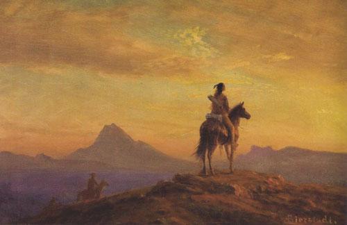 "Albert Bierstadt, The Sentinel, c. 1860s, oil on academy board, 14""x20"""