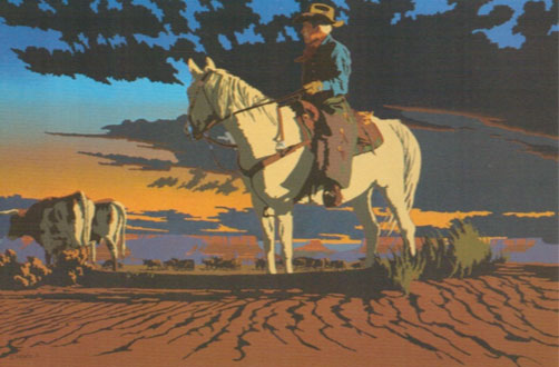 "Billy Schenck, Moving Longhorns, oil on canvas, 42"" x 65"""