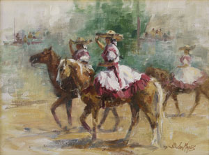 "Jan Mapes, Senoritas de los Charros, Oil on Canvas, 9"" x 12"""