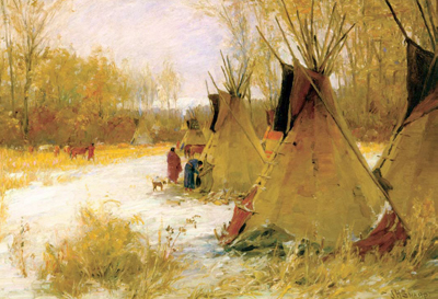 "J. H. Sharp, Big Medicine's Camp, oil, 20"" x 26"" Collection of Mr. and Mrs. Larry Kravert"