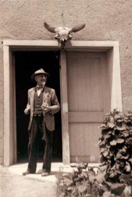 Sharp poses outside his studio in Taos, NM c. 1945  Collection of Forrest Fenn